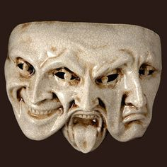 trifaccia Craquele by Blue Moon Mask-Venitian, nice example of thinking outside the box. This mask shows three emotions so clearly, I think it's very impressive. Yen Yang, Sculptures, Lion Sculpture, Comedy And Tragedy, Neue Tattoos, Art Premier, Venetian Masks, Masks Art, African Masks