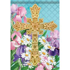Easter Flowers Cross Garden Flag - x - 2 Sided Message