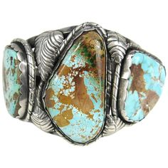 Early Navajo Sterling Royston Turquoise Matrix 3 Stone Handcrafted cuff bracelet | From a unique collection of vintage Cuff Bracelets at https://www.1stdibs.com/jewelry/bracelets/cuff-bracelets/.