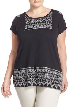 Lucky Brand Embroidered Panel Cap Sleeve Tee (Plus Size) available at #Nordstrom