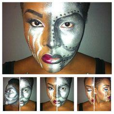 Cyborg Makeup - Tin Man makeup for Woman.