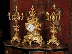 Louis Japy Large Antique French Gilt Brass Clock Set ~ French - Circa 1880 ~  Original antique French Rococo clock and Candelabra set.