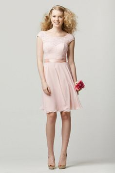 Fashionable and luxurious, this classically inspired Watters WTOO 696 bridesmaid dress is a refreshing choice for any wedding. The ballerina neckline is draped with ornate lace material over a stunning sweetheart neckline. A double-face satin ribbon wraps around your waist to accentuate your feminine silhouette and gracefully segues into a delicate circular cut knee length skirt made of lavish crystal chiffon material.