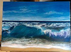 Seascape. Acryl auf Leinwand. Nach einem Foto von Michael James Smith Art auf YouTube Pencil Drawings, Painting & Drawing, Waves, Paintings, Youtube, Outdoor, Pictures, Canvas, Outdoors