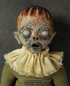 https://flic.kr/p/7C6y7P | Zombie Art Doll 10 - Maeve | Zombie Art Doll 10 - Maeve Handmade, OOAK art doll.  8. 5 inches tall. Mixed media. Copyright © 2010, Shain Erin. All rights reserved.