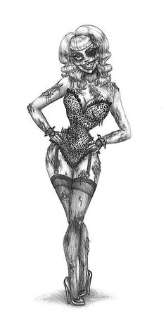 Zombie pin up girl tattoo this would be awesome with a more sally/ corpse bride vibe, esp in color!!