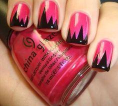 Pink, black Halloween nails