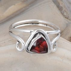 925 STERLING SILVER GARNET CUT GEMSTONE RING 4.14g DJR9742 SZ-7.5 #Handmade #Ring