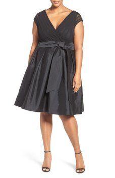 Adrianna Papell - Taffeta Fit & Flare Dress (Plus Size)