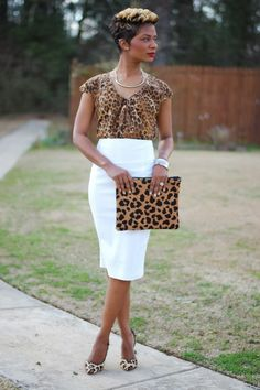 HAPPY SUNDAY BEAUTIFUL PEOPLE! I love the idea of how leopard print is so versatile! Each print I have on is different, yet the same! The white skirt 'breaks up' the print so it's…