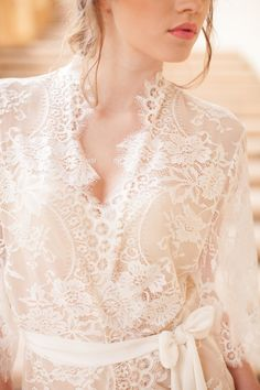 2ec9c09614 Swan Queen Bridal Lace robe kimono in Ivory with silk lining - style 104
