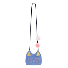 Girls embroidered cat face bag with pom pom detail on cord shoulder strap. Back zip closure. 15cm x 10cm.