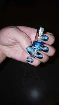Space/nightsky blue nailpolish. Good color for space nails