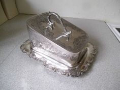 Attractive Large Vintage Silver Plated Cheese Butter Dish Thomas Ottley | 60