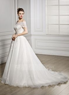 A-Line/Princess Off-the-Shoulder Court Train Organza Satin Lace Wedding Dress With Ruffle Beading Sequins (002056954) - JJsHouse