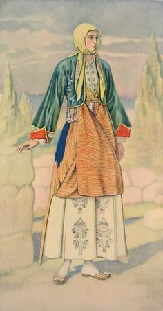 NICOLAS SPERLING Peasant Woman's Dress (Dodecanese, Kalymnos) 1930 lithograph on paper after original watercolour Greek Traditional Dress, Traditional Outfits, Greece Costume, Ancient Greek Costumes, Greek Dress, Tribal Dance, Costume Collection, In Ancient Times, Watercolor Illustration