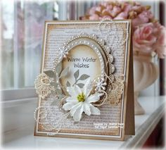 shabby chic card ... plenty of pearls ... neutral tones ... lovely ...