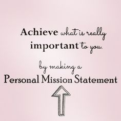 making a personal mission statement