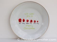 Personalized Christmas Carolers Thumbprint Plate Craft