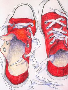 drawing shoes - great watercolor lesson.