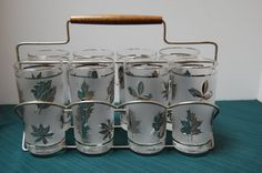Vintage Libbey Highball Glasses and Carrier Set of 8 glasses and covers