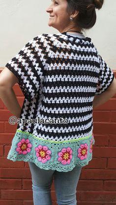 Crochet Granny, Crochet Stitches, Free Crochet, Crochet African Flowers, Crochet Flowers, Crochet Jacket, Crochet Cardigan, Summer Cardigan, Summer Patterns