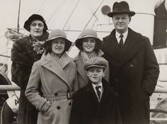 John Spencer-Churchill, 10th Duke of Marlborough | The Duke picture with his wife and children including John Spencer-Churchill, Marquess of Blandford and later 11th Duke of Marlborough (29 Jan 1935) likely departing for or arriving at NYC for a visit with his mother Consuelo Vandebilt Balsan.