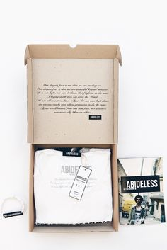 Each ABIDELESS T-Shirt is specially packaged in box from recycled paper and printed with eco-colors Shirt Packaging, Clothing Packaging, Fashion Packaging, Brand Packaging, Box Packaging, Fashion Branding, Packaging Design, Self Branding, Mens Fashion Sweaters