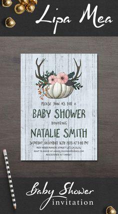 Fall Baby Shower Invitation Printable, Pumpkin Baby Shower Invitation, Woodland Winter Baby Shower Invitation, Rustic Baby Shower Invitations. More info at: lipamea.etsy.com