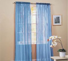 "Elegance Linen 2 Piece Solid Sheer Window Curtains Rod Panels treatment 40""w X…"