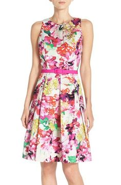 MOB Dress Eliza J Floral Faille Fit & Flare Dress (Regular & Petite) available at #Nordstrom