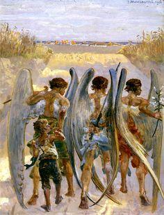 Three Angels with Tobias // 1906 // Jacek Malczewski // Lwowskiej Narodowej Galerii Sztuki Warrior Angel, Angel Guide, Angel Pictures, Pre Raphaelite, Angel Art, Christian Art, Religious Art, Cherub, Art And Architecture