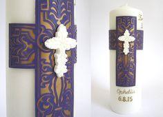 Vela para Bautizo y Primera Comunión de niña, en violeta, rosado y oro, candela