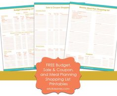 FREE Budget, Menu, and Coupon Shopping List Printables