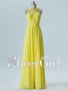 adef5f1369e Long Chiffon Cheap Yellow Bridesmaid Dresses Online