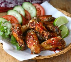 Baked Spicy Sesame-Sriracha Chicken Wings-- save some cilantro for garnish and any watermelon radish left for the side