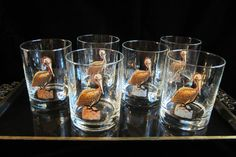 Couroc Pelican Glasses Set Cocktail Double Old by SaltwaterVillage