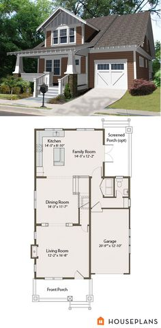 Craftsman Bungalow Floor Plan And Elevation 2100sft 461 25