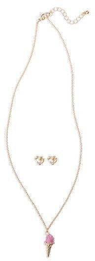 Girl's Capelli New York Ice Cream Necklace & Heart Earrings Set