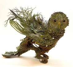 'ally' - forest owl sculpture by Ellen Jewett Mixed Media Sculpture, Sculpture Art, Ellen Jewett, Paperclay, Canadian Artists, Animals Images, Animal Sculptures, Fantastic Beasts, Mythical Creatures