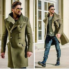 An olive overcoat and navy jeans are absolute must-haves if you're planning a classy wardrobe that holds to the highest fashion standards. Break up this ensemble by rounding off with a pair of black leather dress boots. Green Trench Coat, Winter Trench Coat, Trench Coat Men, Pea Coat Men, Men Coat, Mens Long Coat, Green Fashion, Look Fashion, Old Man Fashion