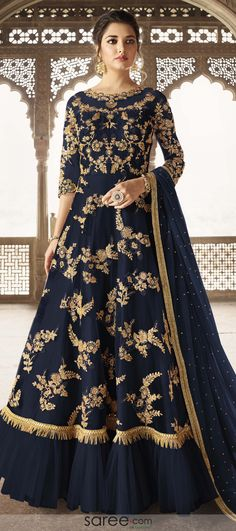 Online Shopping of Function Wear Navy Blue Embroidered Designer Net Fabric Floor Length Anarkali Suit from SareesBazaar, leading online ethnic clothing store offering latest collection of sarees, salwar suits, lehengas & kurtis Anarkali Dress, Anarkali Suits, Pakistani Dresses, Indian Dresses, Indian Outfits, Pakistani Lehenga, Pakistani Bridal, Punjabi Suits, Lehenga Choli