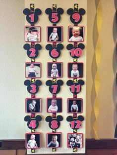 My baby's first year picture banner. Made with the Mickey Mouse & Essentials Cricut Cartridges. Mickey Mouse Ribbon purchased from Hobby Lobby & printed the monthly onesie pics to Walgreens in a size Mickey 1st Birthdays, Mickey Mouse First Birthday, Mickey Mouse Clubhouse Birthday Party, Mickey Party, Minnie Mouse Party, First Birthday Parties, Birthday Party Themes, Birthday Kids, Minnie Mouse Cricut Ideas
