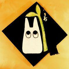 Pin for Later: Studio Ghibli Cap-Decorating Ideas For Extraspirited Graduates Chibi Totoro Graduation Cap Designs, Graduation Cap Decoration, Graduation Caps, Grad Cap, High School Graduation, Graduation Ideas, Cap Decorations, Cap Ideas, Grad Pics