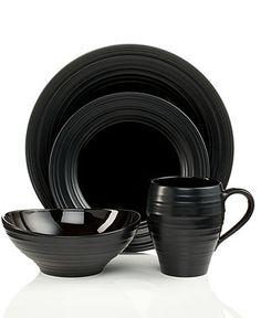 Mikasa Dinnerware, Swirl Black Collection - Casual Dinnerware - Dining & Entertaining - Macy's