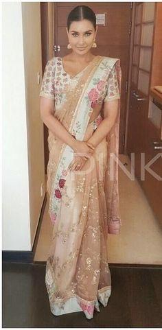 Lisa Ray looking ethereal in a fabulous Sabyasachi saree Lehanga Saree, Sabyasachi Sarees, Net Saree, Saree Blouse, Indian Look, Indian Wear, Desi Clothes, Asian Clothes, Indian Blouse