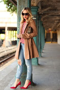 ASOS trench and tee, Curren Elliot jeans, Manolo Blahnik shoes