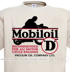 T-Shirt Mobiloil, Natural, Motor oil, Retro, 100% Cotton, Graphic Tee, by retrobel1 on Etsy