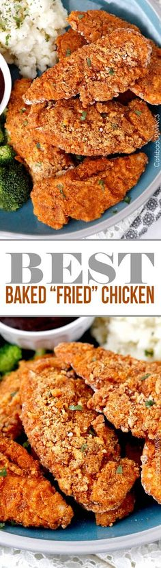 """seriously the BEST Baked """"fried"""" chicken! Crispy chicken marinated in spiced buttermilk then breaded with flour, panko, cornmeal and spices then baked in a little butter -tastes better than KFC without the grease and guilt! #KFCchicken #bakedfriedchicken #friedchicken via @carlsbadcraving"""