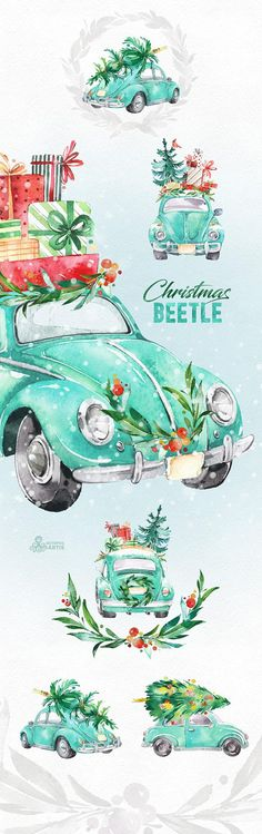 This Christmas Mint Beetle set of 12 high quality hand painted watercolor graphics. Perfect graphic for Christmas project, greeting cards, photos, posters, quotes and more. ----------------------------------------------------------------- This listing includes: 8 x Images with car 3 x